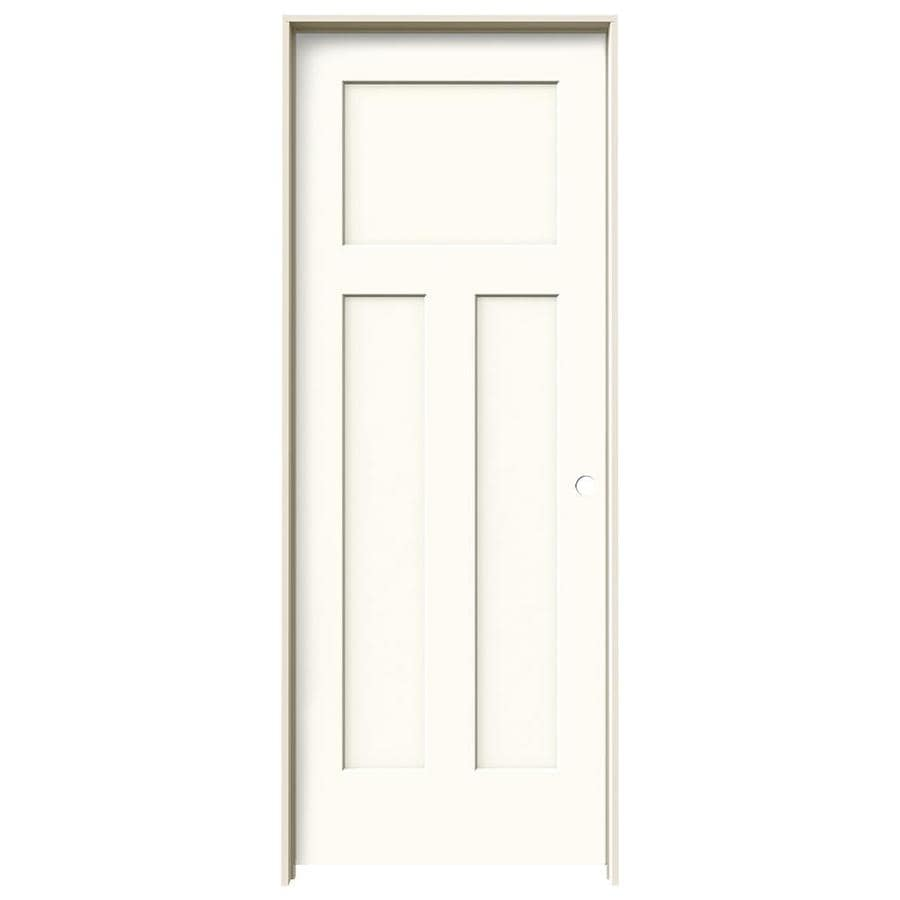 JELD-WEN White Prehung Solid Core 3-Panel Craftsman Interior Door (Common: 32-in x 80-in; Actual: 33.562-in x 81.688-in)