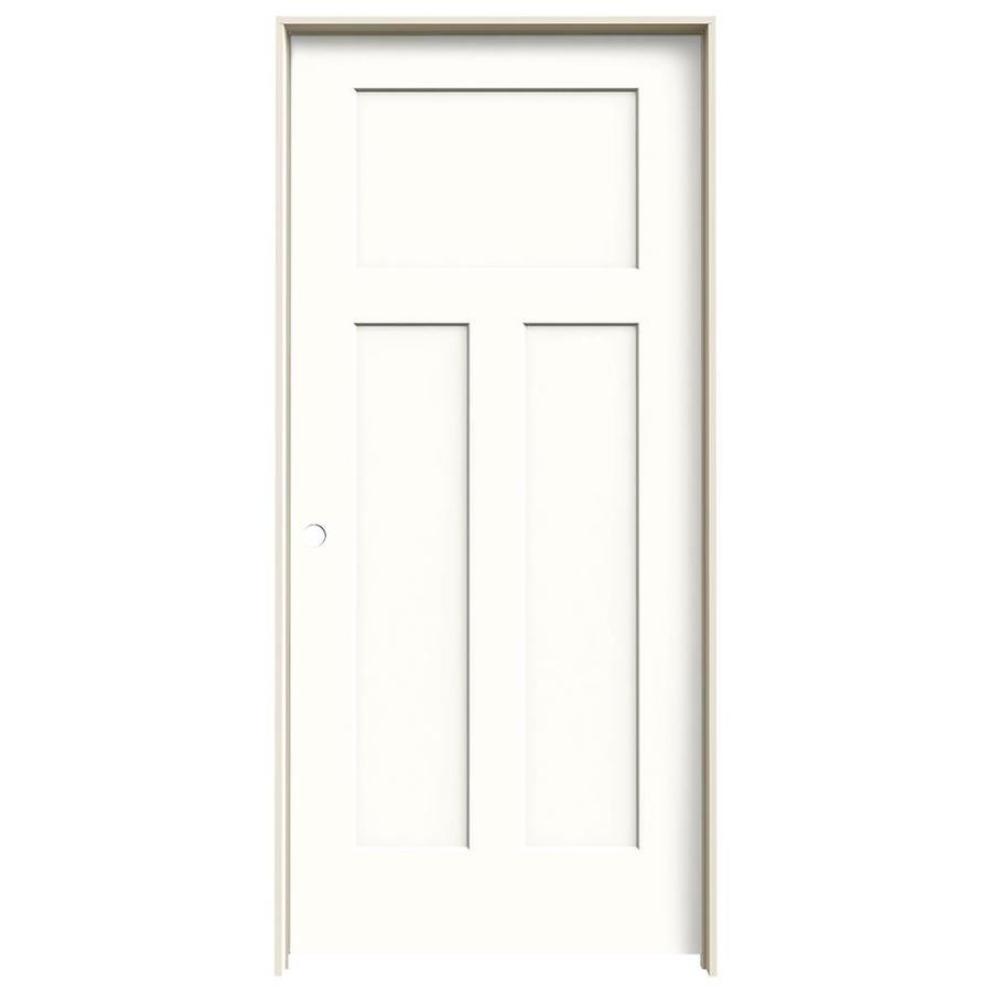 JELD-WEN Craftsman Snow Storm Prehung Solid Core 3-Panel Craftsman Interior Door (Common: 36-in x 80-in; Actual: 37.562-in x 81.688-in)