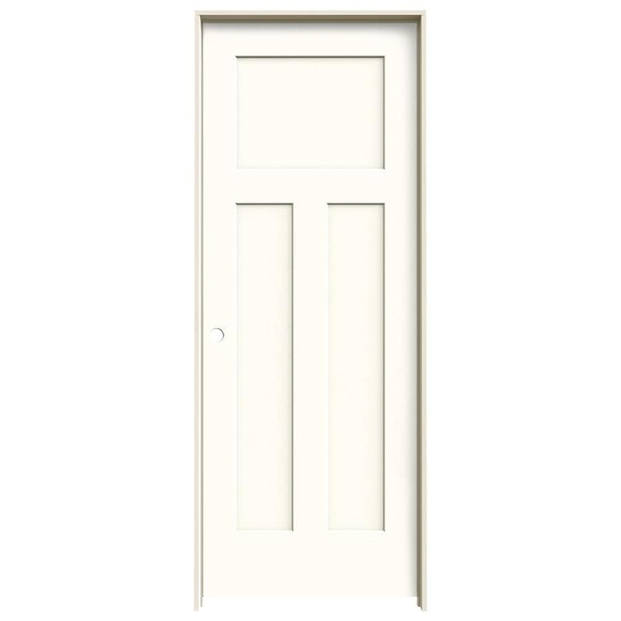 JELD-WEN Craftsman Moonglow Prehung Solid Core 3-Panel Craftsman Interior Door (Common: 32-in x 80-in; Actual: 33.562-in x 81.688-in)