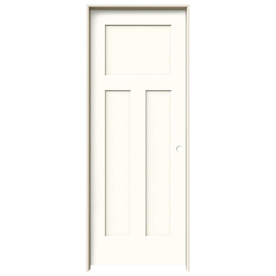 JELD-WEN Craftsman Moonglow Prehung Solid Core 3-Panel Craftsman Interior Door (Common: 32-in x 80-in; Actual: 33.562-in x 81.688-in)