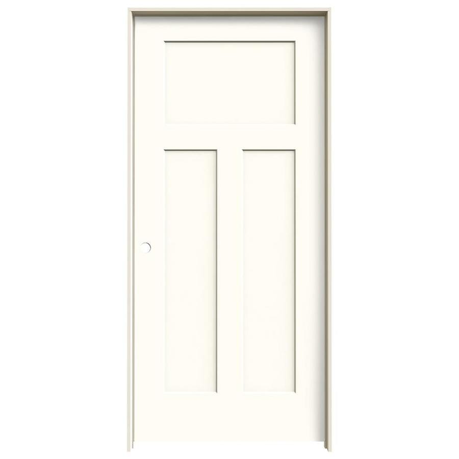 JELD-WEN Craftsman Moonglow Prehung Solid Core 3-Panel Craftsman Interior Door (Common: 36-in x 80-in; Actual: 37.562-in x 81.688-in)
