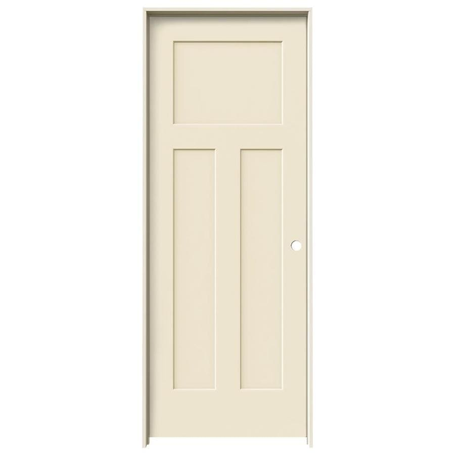 JELD-WEN Cream-N-Sugar Prehung Solid Core 3-Panel Craftsman Interior Door (Common: 28-in x 80-in; Actual: 29.562-in x 81.688-in)