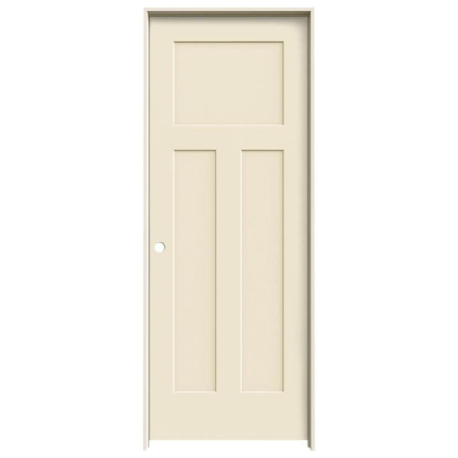 JELD-WEN Craftsman Cream-n-sugar 3-panel Craftsman Single Prehung Interior Door (Common: 30-in x 80-in; Actual: 31.562-in x 81.688-in)