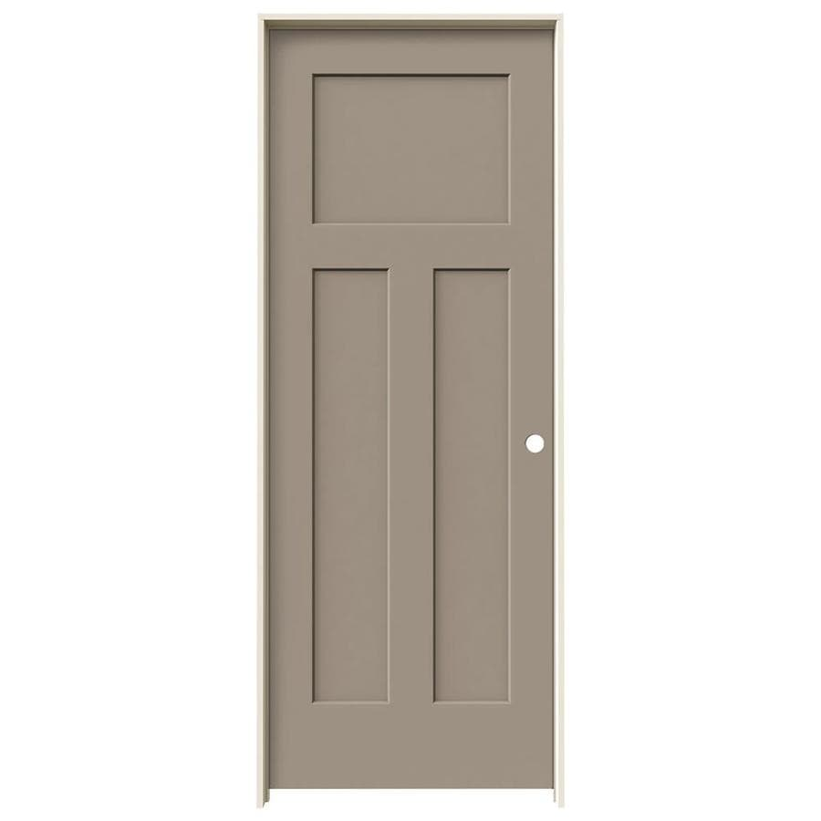JELD-WEN Craftsman Sand Piper 3-panel Craftsman Single Prehung Interior Door (Common: 28-in x 80-in; Actual: 29.562-in x 81.688-in)