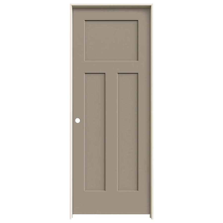 JELD-WEN Craftsman Sand Piper Prehung Solid Core 3-Panel Craftsman Interior Door (Common: 32-in x 80-in; Actual: 33.562-in x 81.688-in)