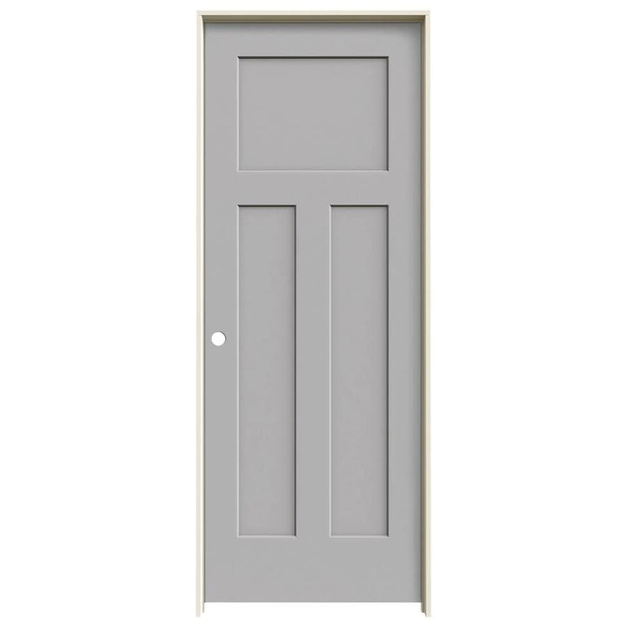 JELD-WEN Craftsman Driftwood Prehung Solid Core 3-Panel Craftsman Interior Door (Common: 24-in x 80-in; Actual: 25.562-in x 81.688-in)