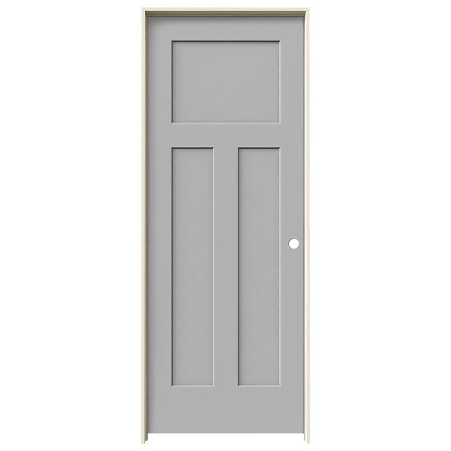 JELD-WEN Craftsman Driftwood Prehung Solid Core 3-Panel Craftsman Interior Door (Common: 24-in x 80-in; Actual: 25.562-in x 81.688-in)