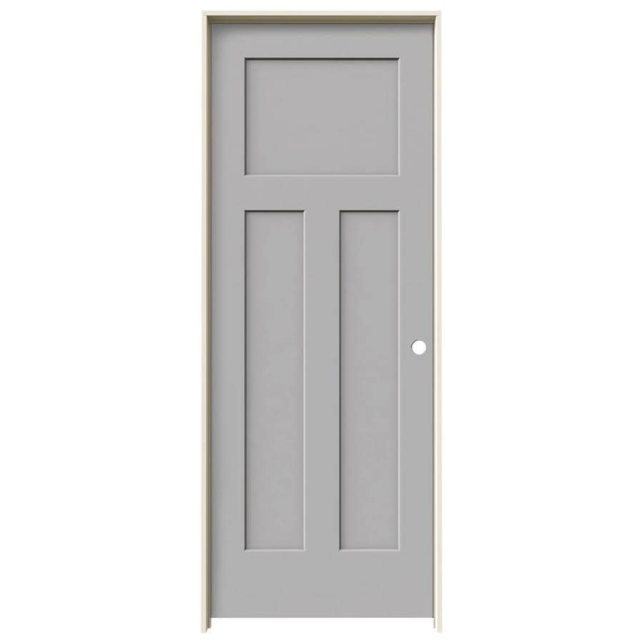 JELD-WEN Craftsman Driftwood Prehung Solid Core 3-Panel Craftsman Interior Door (Common: 30-in x 80-in; Actual: 31.5620-in x 81.6880-in)