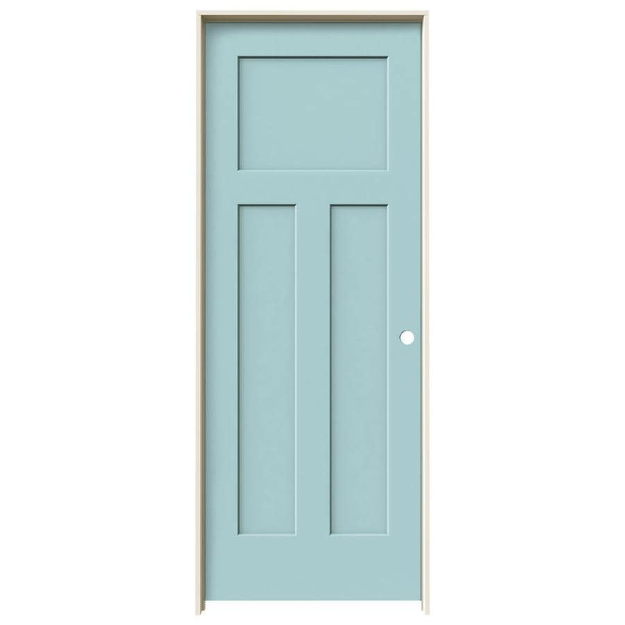 JELD-WEN Craftsman Sea Mist Prehung Solid Core 3-Panel Craftsman Interior Door (Common: 24-in x 80-in; Actual: 25.562-in x 81.688-in)