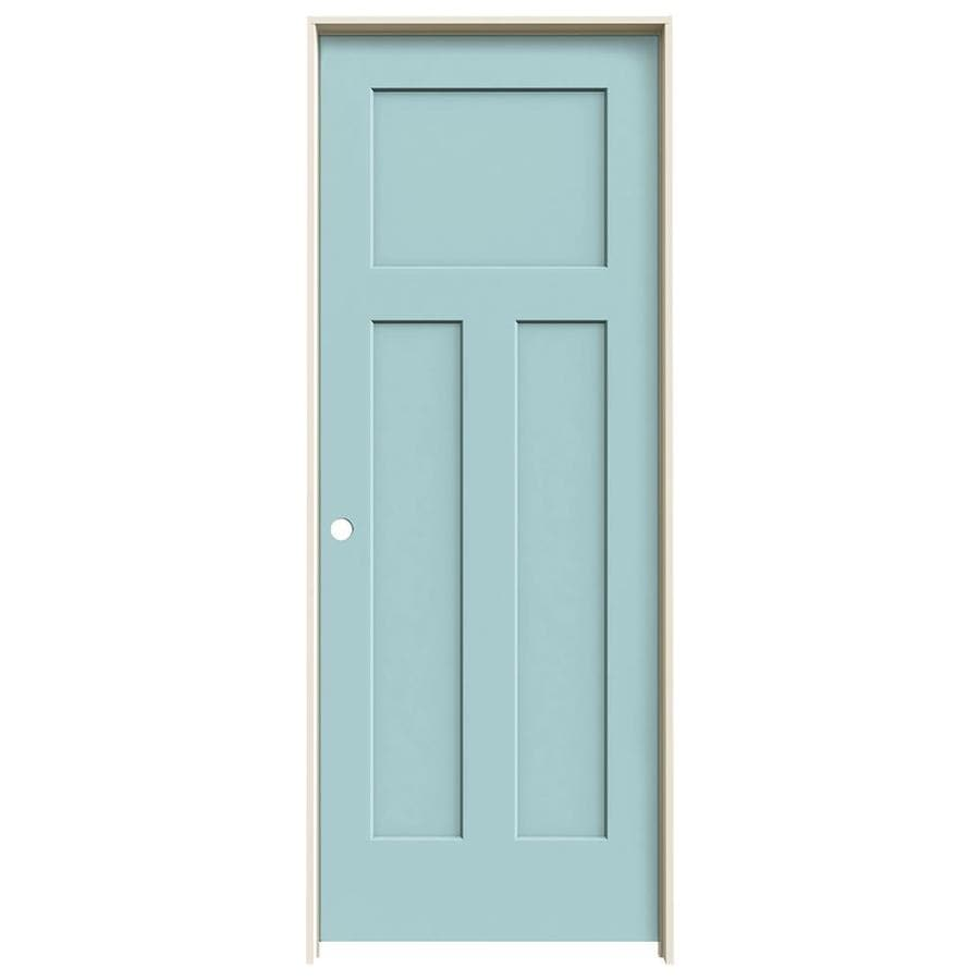 JELD-WEN Craftsman Sea Mist 3-panel Craftsman Single Prehung Interior Door (Common: 28-in x 80-in; Actual: 29.562-in x 81.688-in)