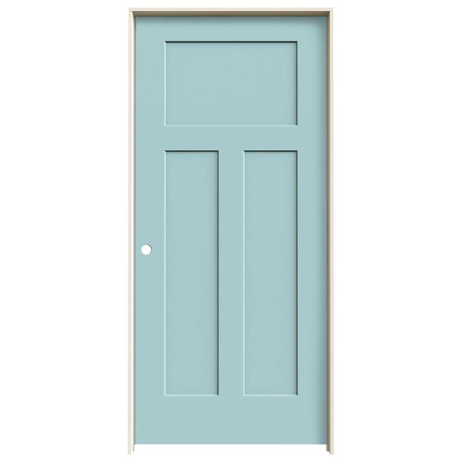 JELD-WEN Sea Mist Prehung Solid Core 3-Panel Craftsman Interior Door (Common: 36-in x 80-in; Actual: 37.562-in x 81.688-in)