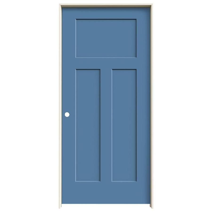 JELD-WEN Craftsman Blue Heron Prehung Solid Core 3-Panel Craftsman Interior Door (Common: 36-in x 80-in; Actual: 37.562-in x 81.688-in)