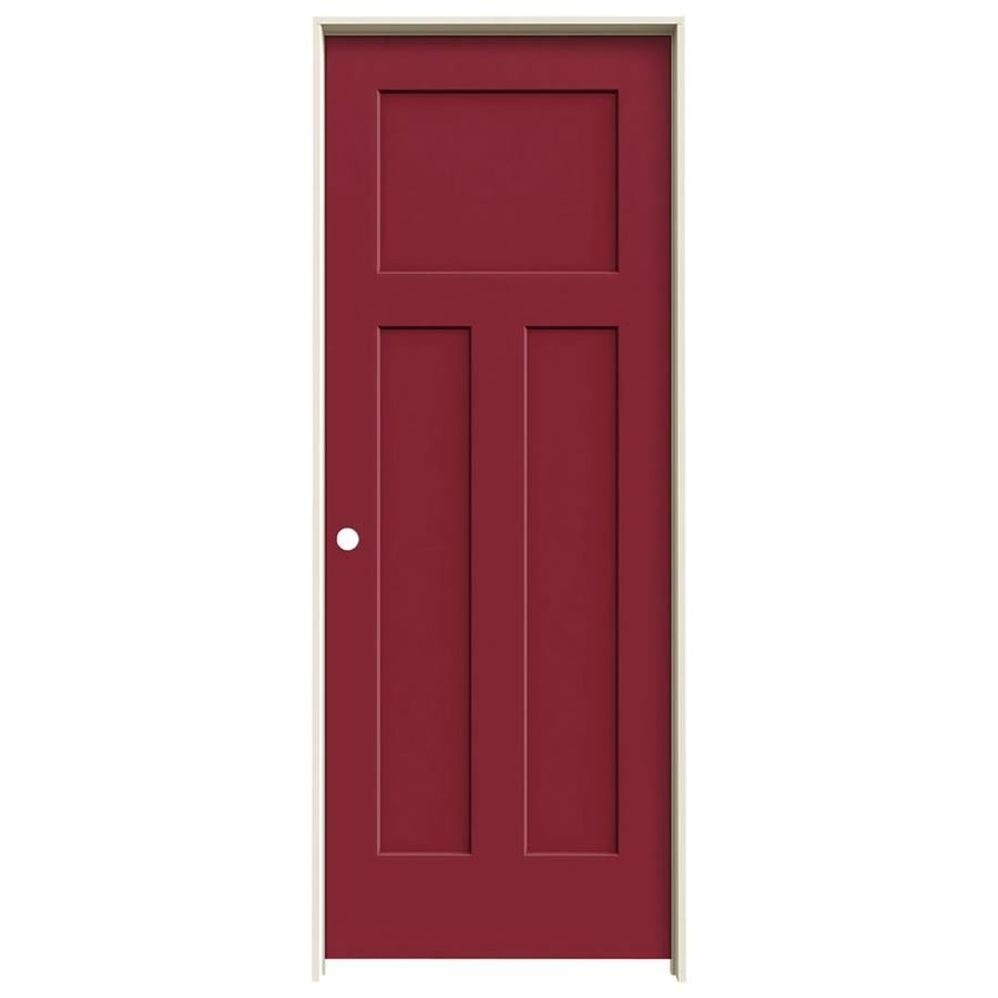 JELD-WEN Craftsman Barn Red 3-panel Craftsman Single Prehung Interior Door (Common: 32-in x 80-in; Actual: 33.562-in x 81.688-in)