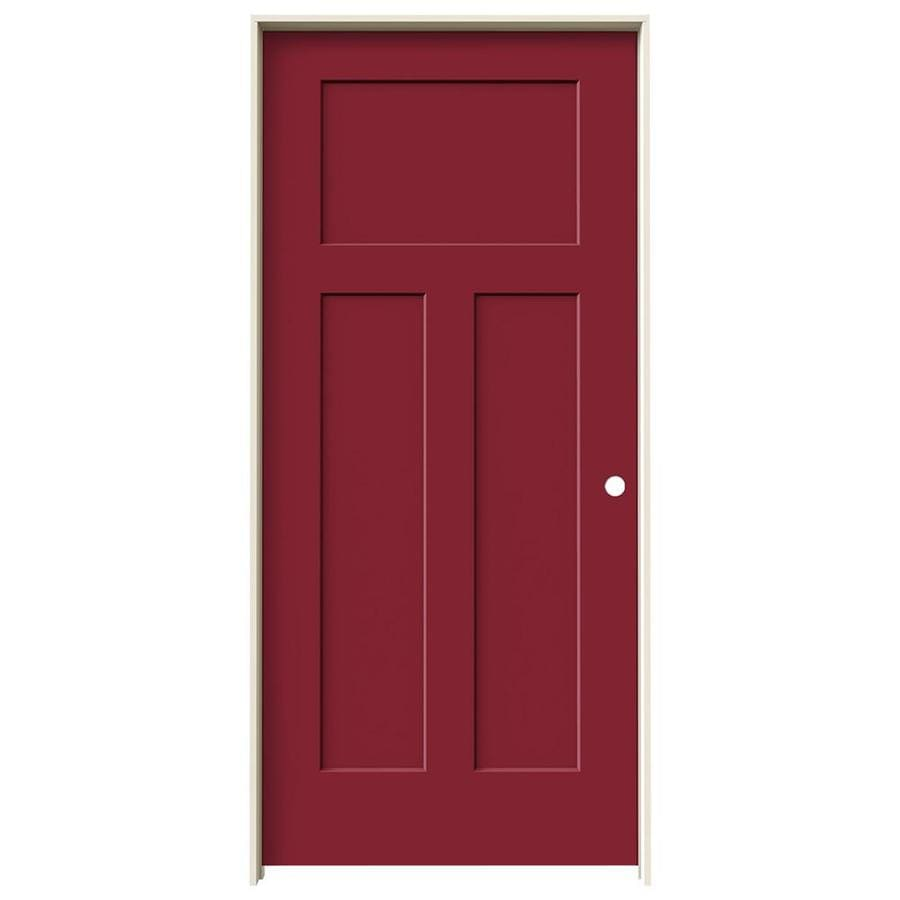 JELD-WEN Craftsman Barn Red Prehung Solid Core 3-Panel Craftsman Interior Door (Common: 36-in x 80-in; Actual: 37.562-in x 81.688-in)