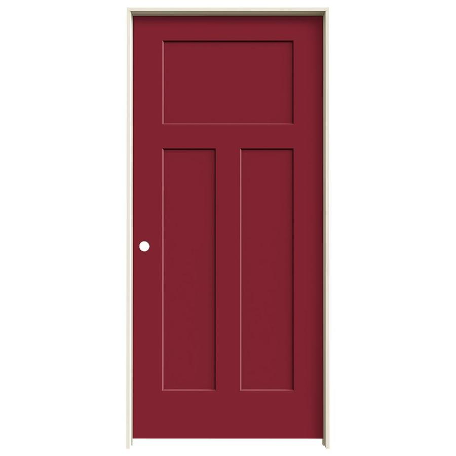 JELD-WEN Barn Red Prehung Solid Core 3-Panel Craftsman Interior Door (Common: 36-in x 80-in; Actual: 37.562-in x 81.688-in)