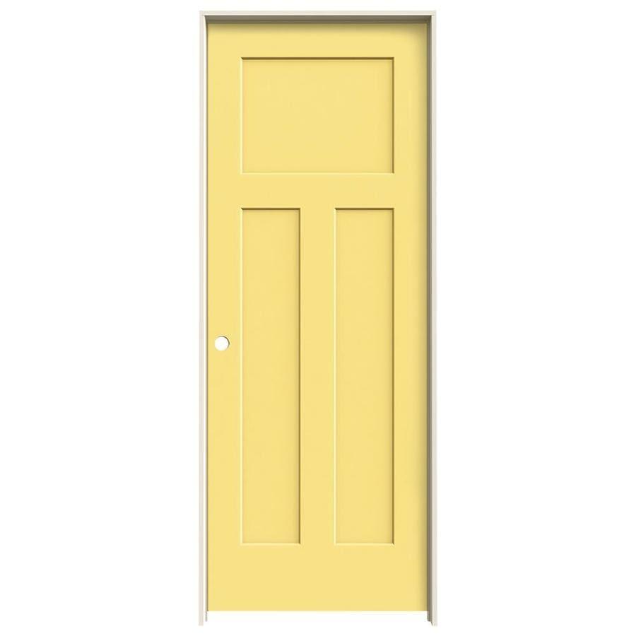 JELD-WEN Marigold Prehung Solid Core 3-Panel Craftsman Interior Door (Common: 28-in x 80-in; Actual: 29.562-in x 81.688-in)