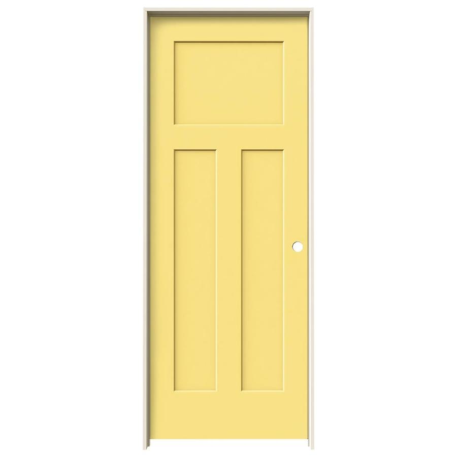 JELD-WEN Craftsman Marigold 3-panel Craftsman Single Prehung Interior Door (Common: 28-in x 80-in; Actual: 29.562-in x 81.688-in)