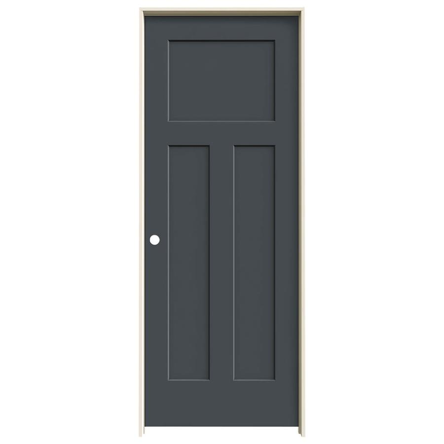 JELD-WEN Craftsman Slate Prehung Solid Core 3-Panel Craftsman Interior Door (Common: 28-in x 80-in; Actual: 29.562-in x 81.688-in)