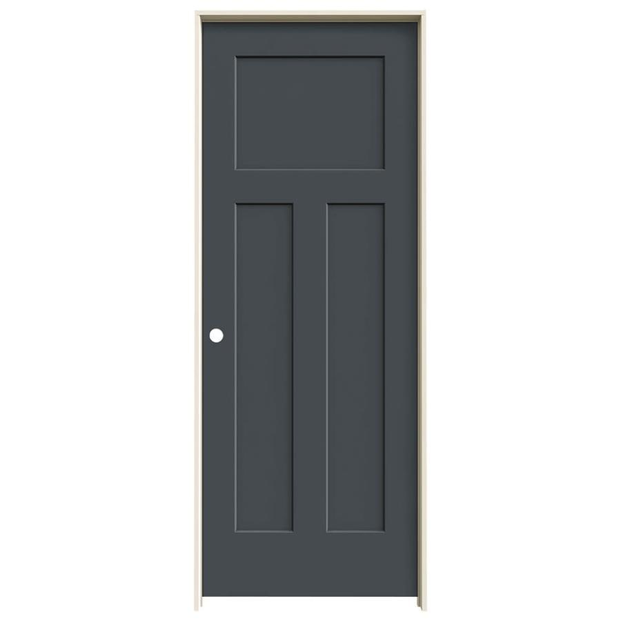 JELD-WEN Craftsman Slate 3-panel Craftsman Single Prehung Interior Door (Common: 30-in x 80-in; Actual: 31.562-in x 81.688-in)