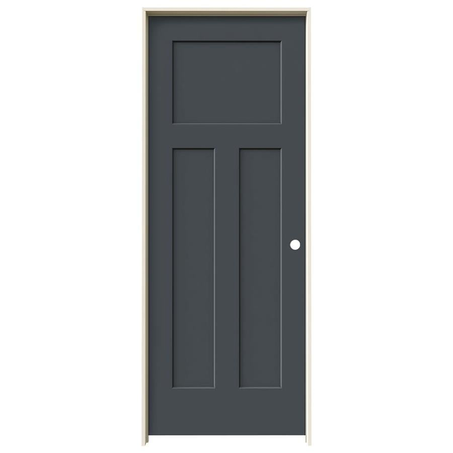 Shop Jeld Wen Craftsman Slate 3 Panel Craftsman Single Prehung Interior Door Common 30 In X 80