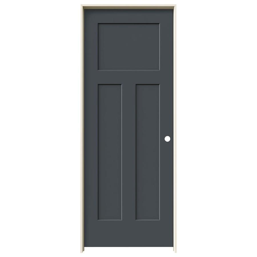 JELD-WEN Craftsman Slate 3-panel Craftsman Single Prehung Interior Door (Common: 32-in x 80-in; Actual: 33.562-in x 81.688-in)