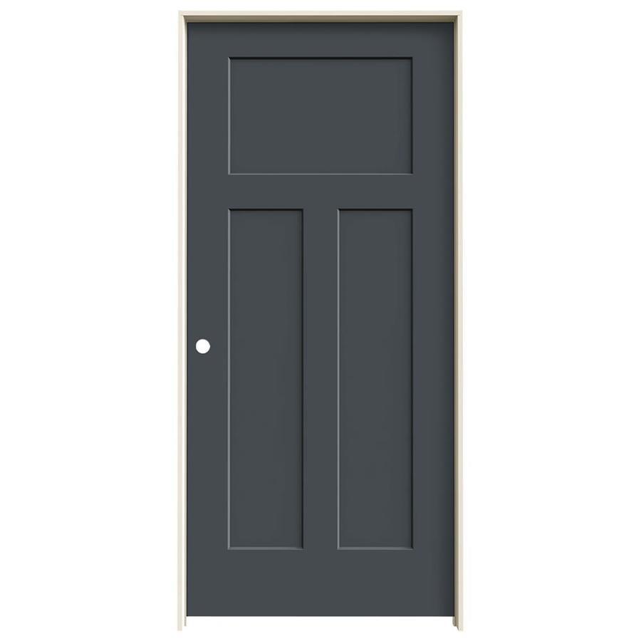 Shop Jeld Wen Craftsman Slate 3 Panel Craftsman Solid Core Molded Composite Single Prehung Door
