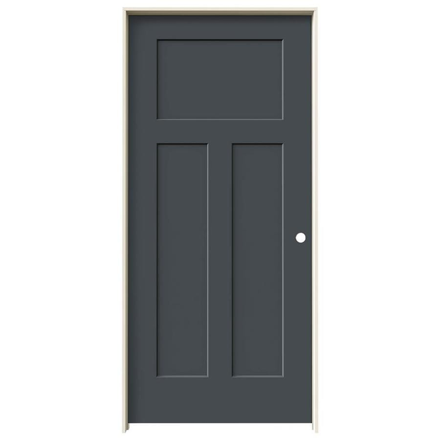 Shop Jeld Wen Craftsman Slate 3 Panel Craftsman Solid Core Molded Composite Single Prehung Door