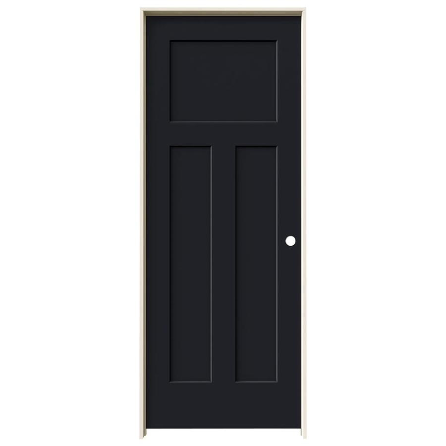 JELD-WEN Craftsman Midnight 3-panel Craftsman Single Prehung Interior Door (Common: 28-in x 80-in; Actual: 29.562-in x 81.688-in)