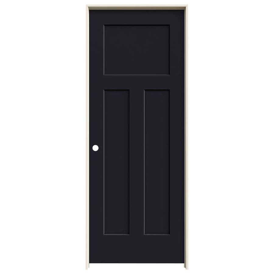JELD-WEN Craftsman Midnight 3-panel Craftsman Single Prehung Interior Door (Common: 30-in x 80-in; Actual: 31.562-in x 81.688-in)