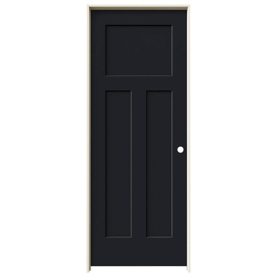 JELD-WEN Midnight Prehung Solid Core 3-Panel Craftsman Interior Door (Common: 32-in x 80-in; Actual: 33.562-in x 81.688-in)