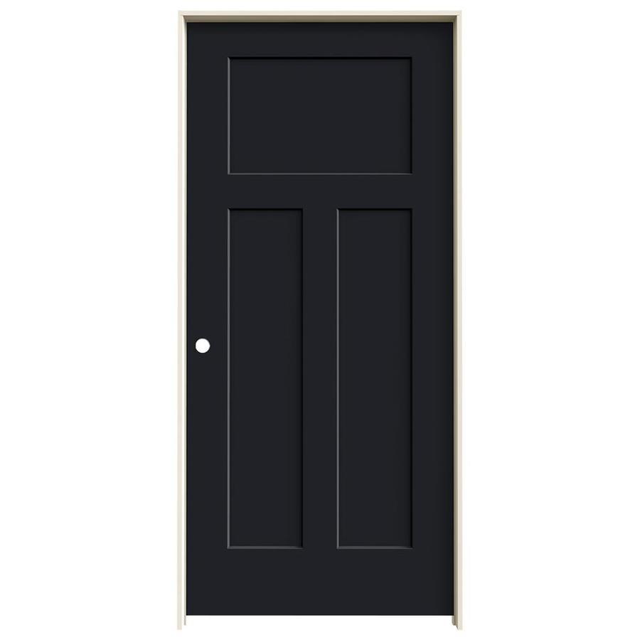 JELD-WEN Craftsman Midnight Prehung Solid Core 3-Panel Craftsman Interior Door (Common: 36-in x 80-in; Actual: 37.5620-in x 81.6880-in)