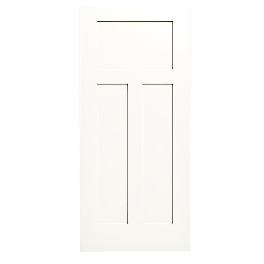 JELD-WEN White Solid Core 3-Panel Craftsman Slab Interior Door (Common: 36-in x 80-in; Actual: 36-in x 80-in)