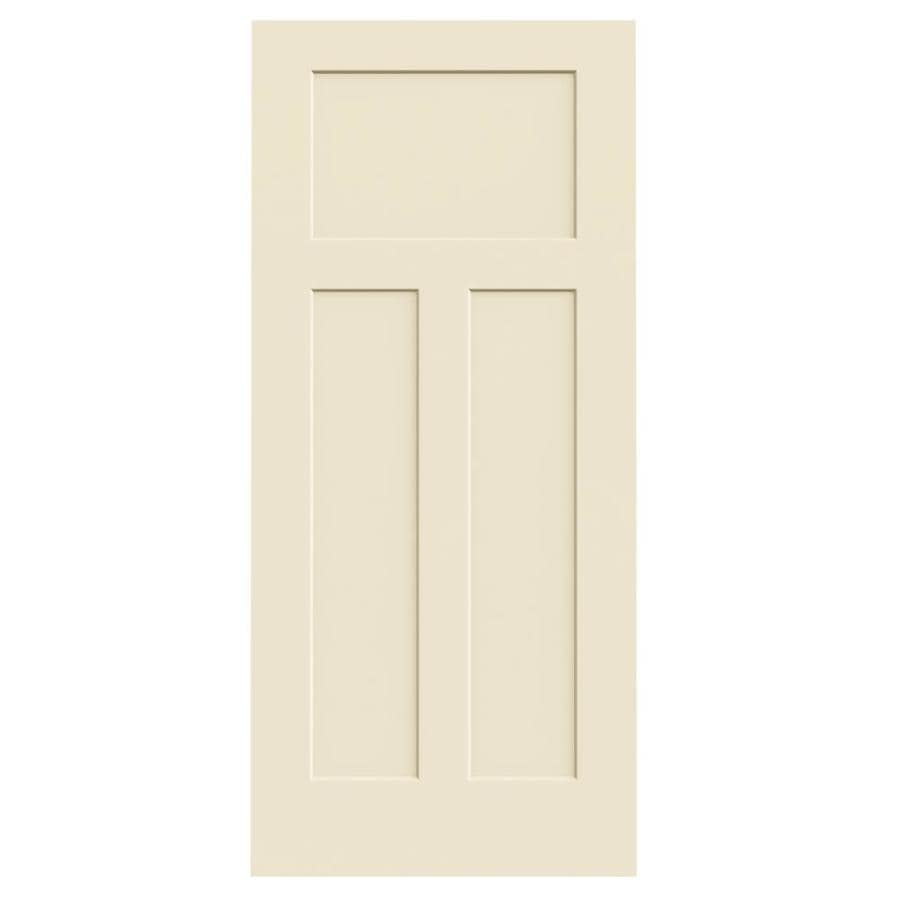 Shop Jeld Wen Craftsman Cream N Sugar 3 Panel Craftsman Solid Core Molded Composite Slab Door
