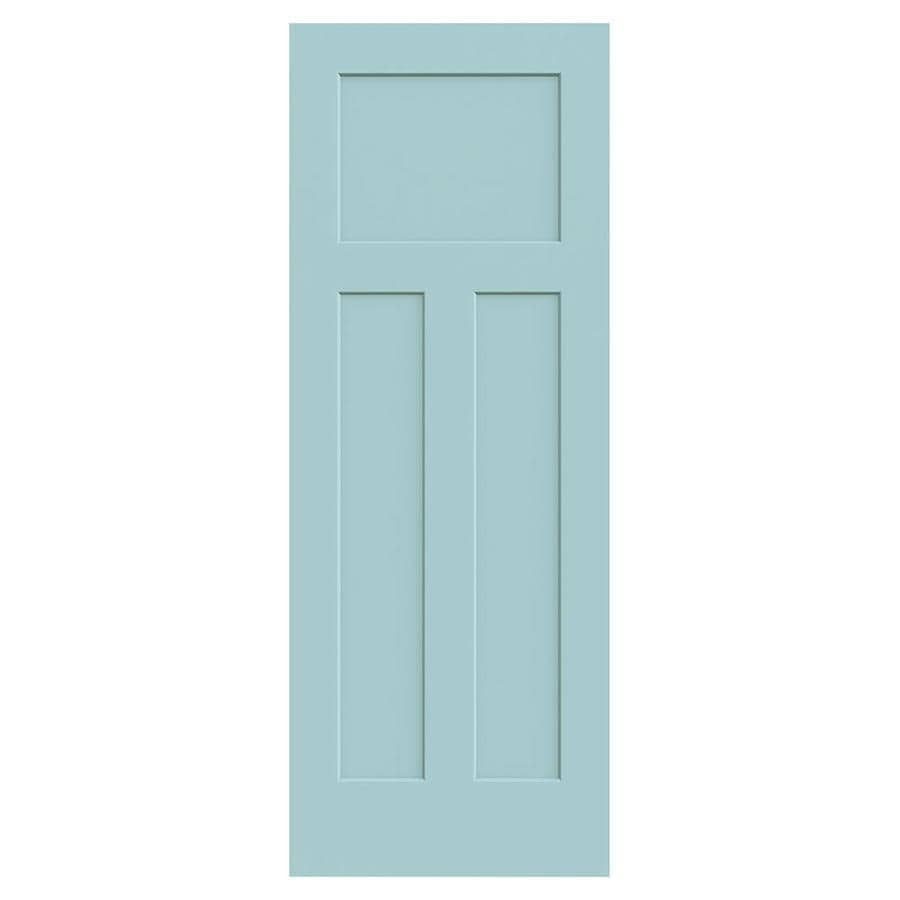 JELD-WEN Sea Mist Solid Core 3-Panel Craftsman Slab Interior Door (Common: 30-in x 80-in; Actual: 30-in x 80-in)