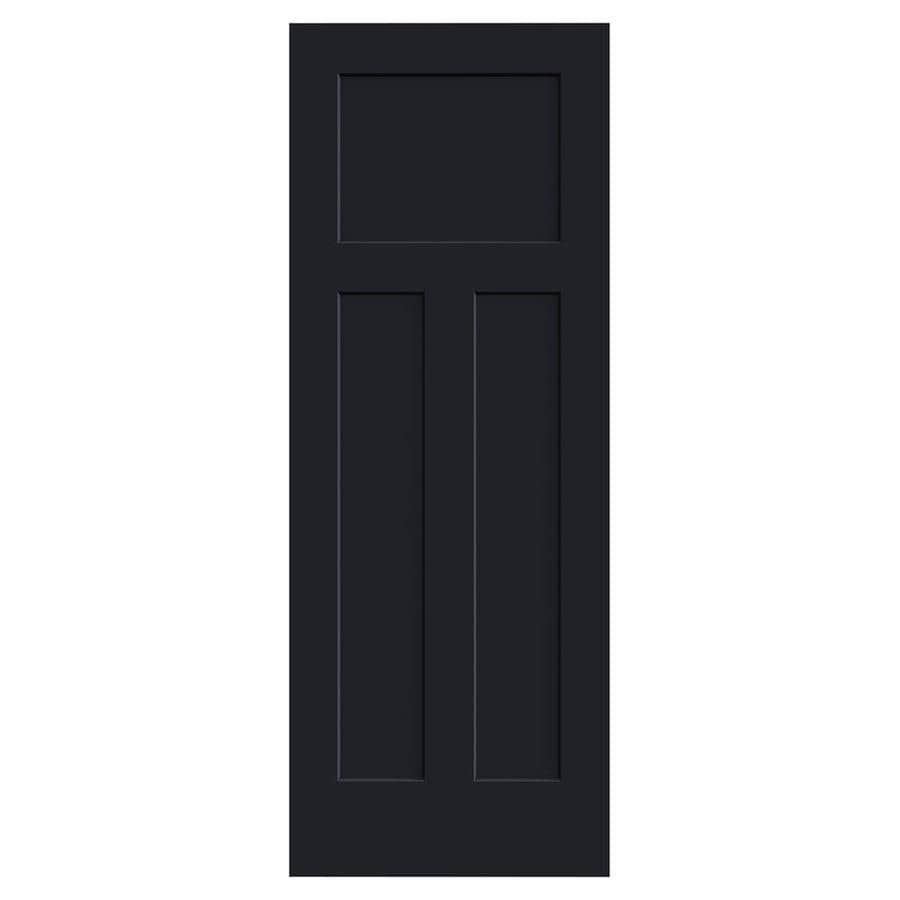 JELD-WEN Midnight Solid Core 3-Panel Craftsman Slab Interior Door (Common: 24-in x 80-in; Actual: 24-in x 80-in)