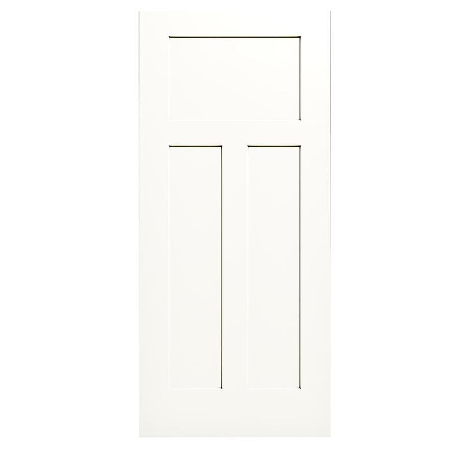 JELD-WEN White Hollow Core 3-Panel Craftsman Slab Interior Door (Common: 36-in x 80-in; Actual: 36-in x 80-in)