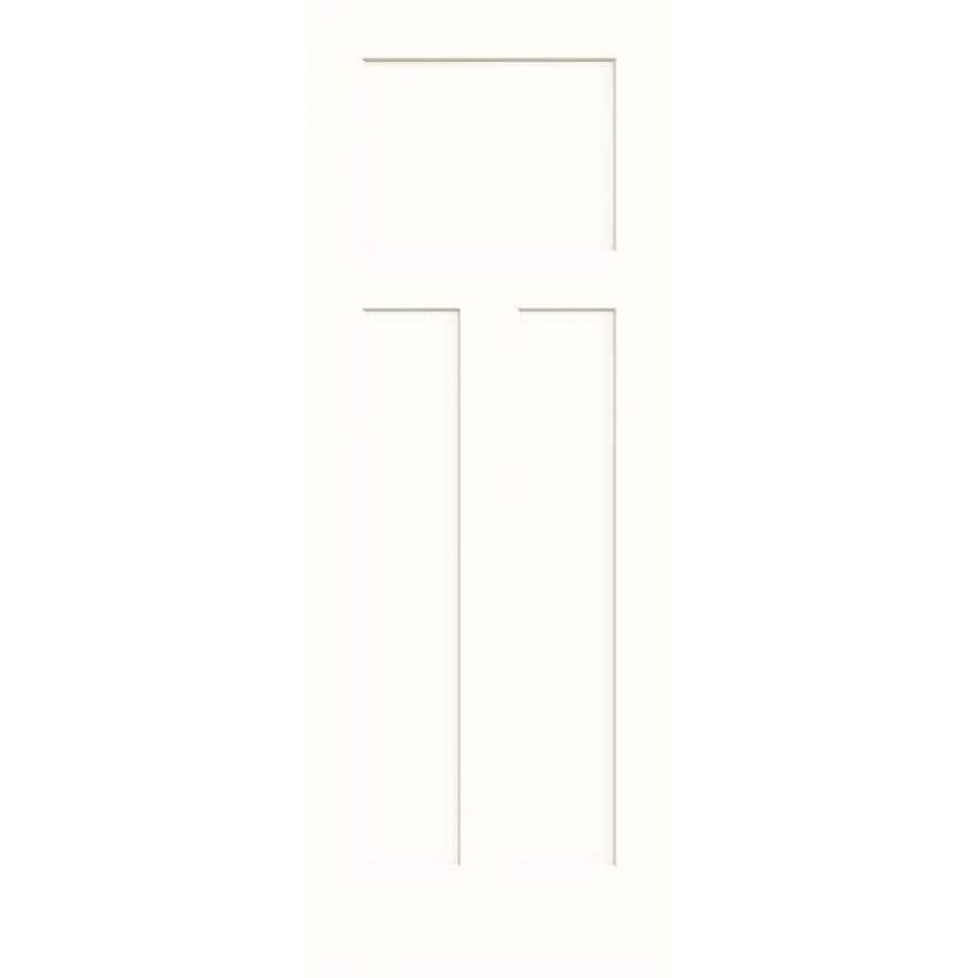 JELD-WEN Craftsman Snow Storm Hollow Core 3-Panel Craftsman Slab Interior Door (Common: 28-in x 80-in; Actual: 28-in x 80-in)