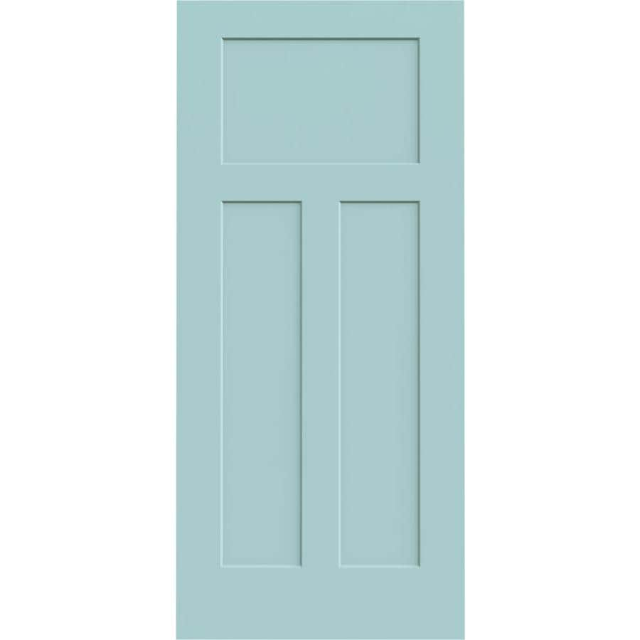 JELD-WEN Sea Mist Hollow Core 3-Panel Craftsman Slab Interior Door (Common: 36-in x 80-in; Actual: 36-in x 80-in)