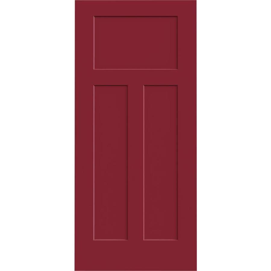 Shop Jeld Wen Craftsman Barn Red 3 Panel Craftsman Slab Interior Door Common 36 In X 80 In