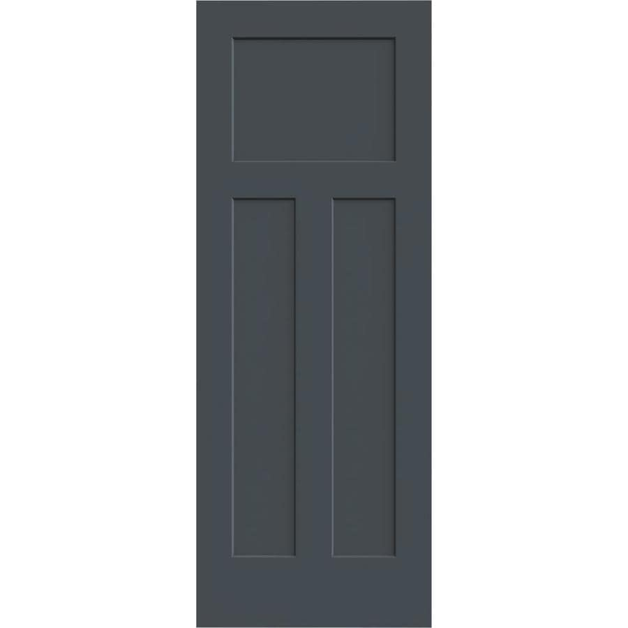 JELD-WEN Slate Hollow Core 3-Panel Craftsman Slab Interior Door (Common: 28-in x 80-in; Actual: 28-in x 80-in)