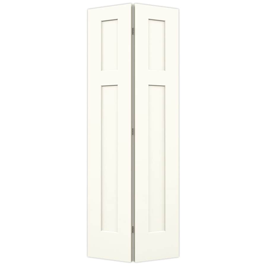 JELD-WEN Craftsman White Hollow Core Molded Composite Bi-Fold Closet Interior Door with Hardware (Common: 30-in x 80-in; Actual: 29.5-in x 79-in)