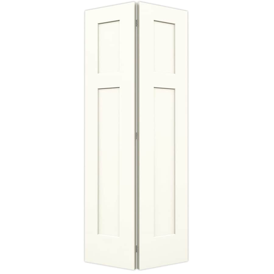 JELD-WEN Craftsman White Hollow Core Molded Composite Bi-Fold Closet Interior Door with Hardware (Common: 36-in x 80-in; Actual: 35.5-in x 79-in)