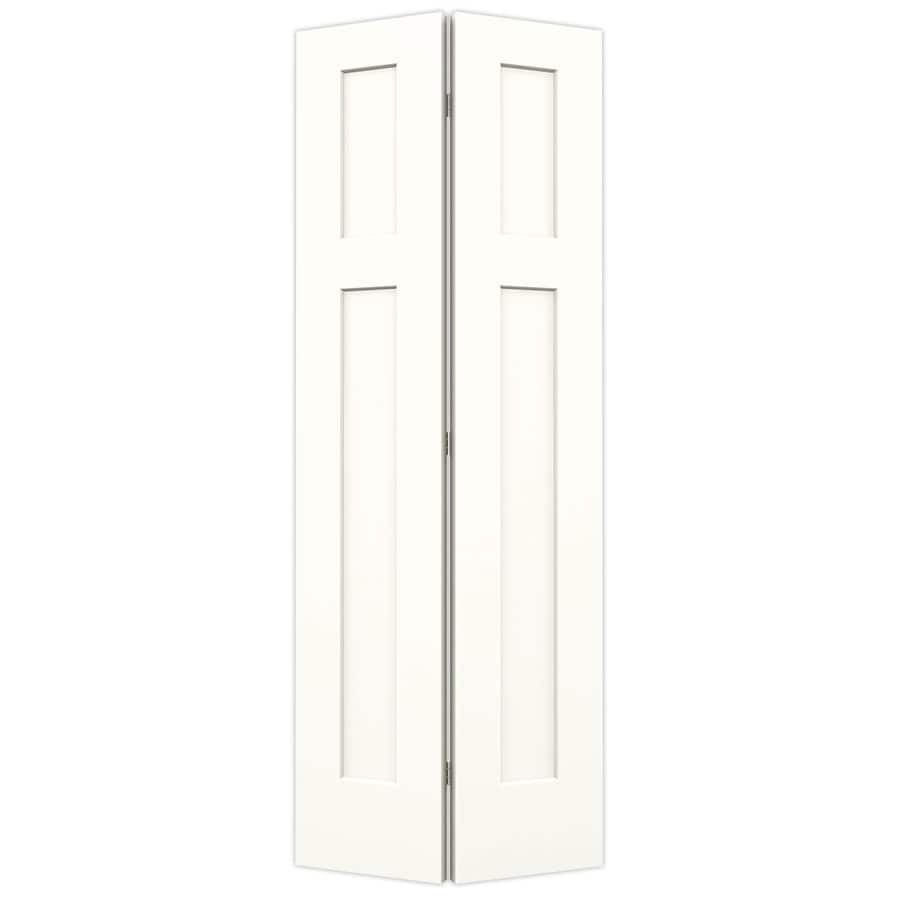 JELD-WEN Craftsman Snow Storm Hollow Core Molded Composite Bi-Fold Closet Interior Door with Hardware (Common: 28-in x 80-in; Actual: 27.5-in x 79-in)