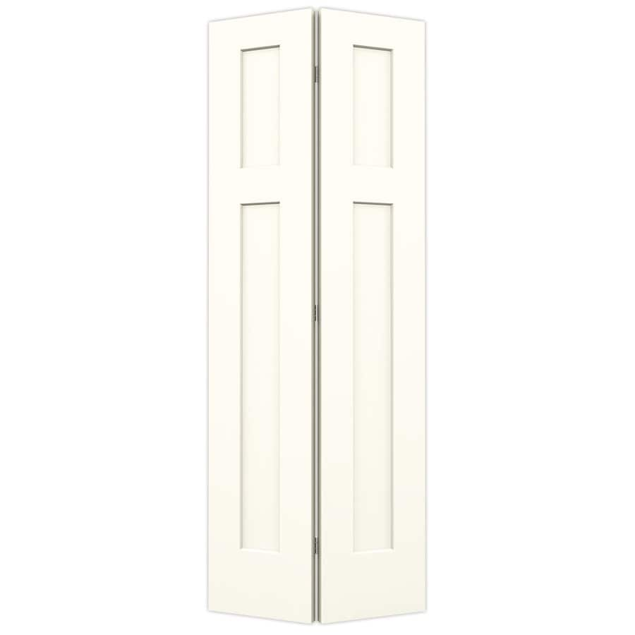 JELD-WEN Craftsman Moonglow Hollow Core Molded Composite Bi-Fold Closet Interior Door with Hardware (Common: 28-in x 80-in; Actual: 27.5-in x 79-in)