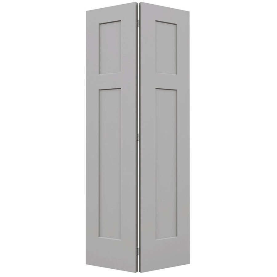 JELD-WEN Craftsman Driftwood 2-panel Square Bi-fold Closet Interior Door (Common: 36-in x 80-in; Actual: 35.5-in x 79-in)