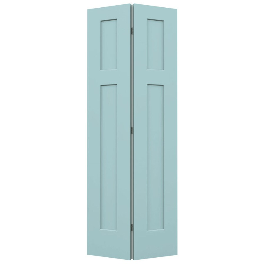 JELD-WEN Sea Mist Hollow Core 2-Panel Square Bi-Fold Closet Interior Door (Common: 30-in x 80-in; Actual: 29.5-in x 79-in)
