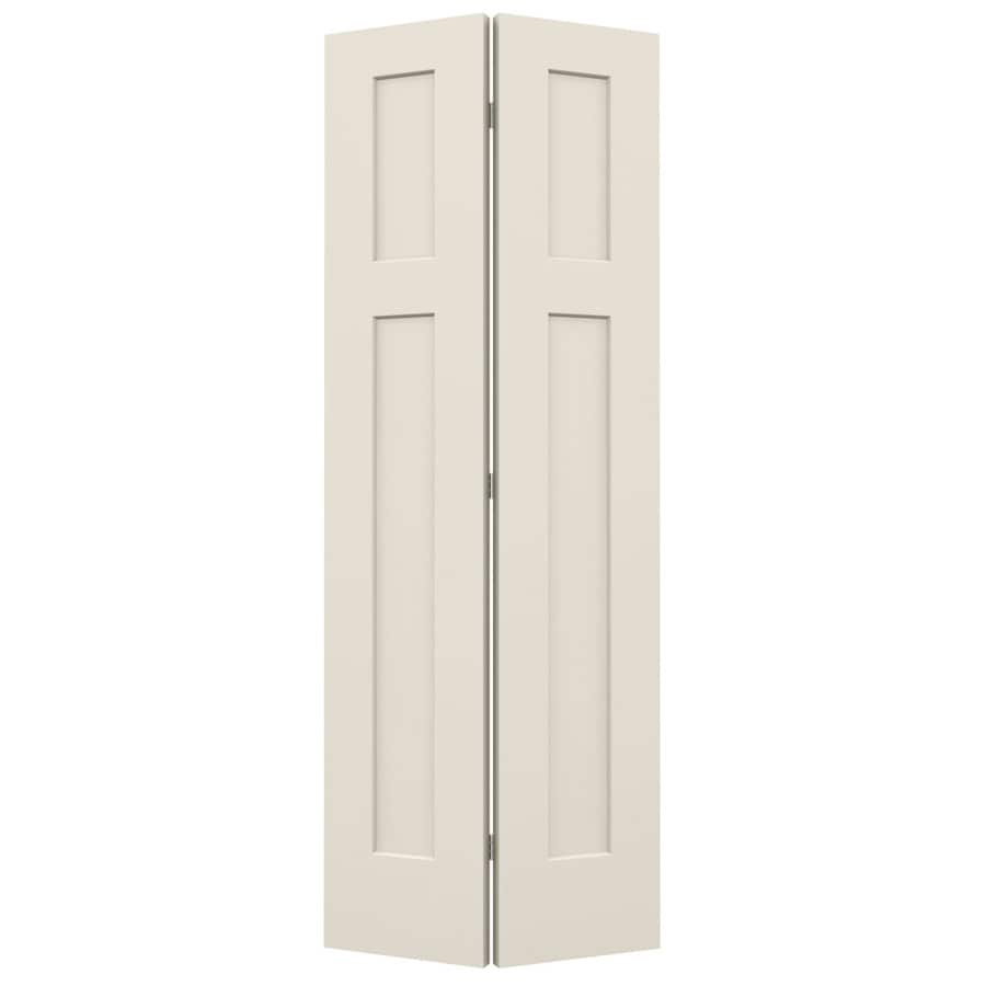 JELD-WEN Craftsman Primed Hollow Core Molded Composite Bi-Fold Closet Interior Door with Hardware (Common: 30-in x 80-in; Actual: 29.5000-in x 79-in)