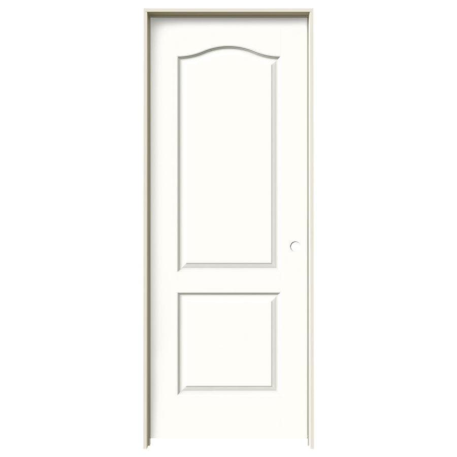 Shop Jeld Wen Snow Storm 2 Panel Arch Top Single Prehung Interior Door Common 24 In X 80 In