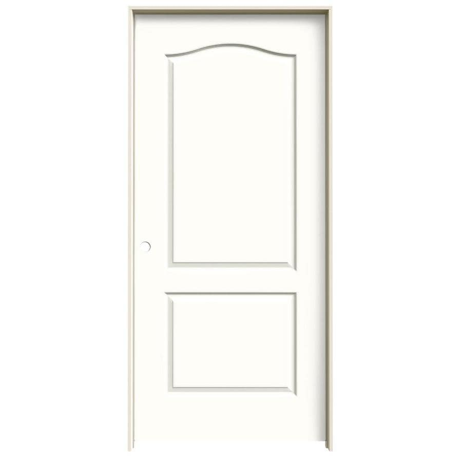 Shop Jeld Wen Snow Storm 2 Panel Arch Top Single Prehung Interior Door Common 36 In X 80 In