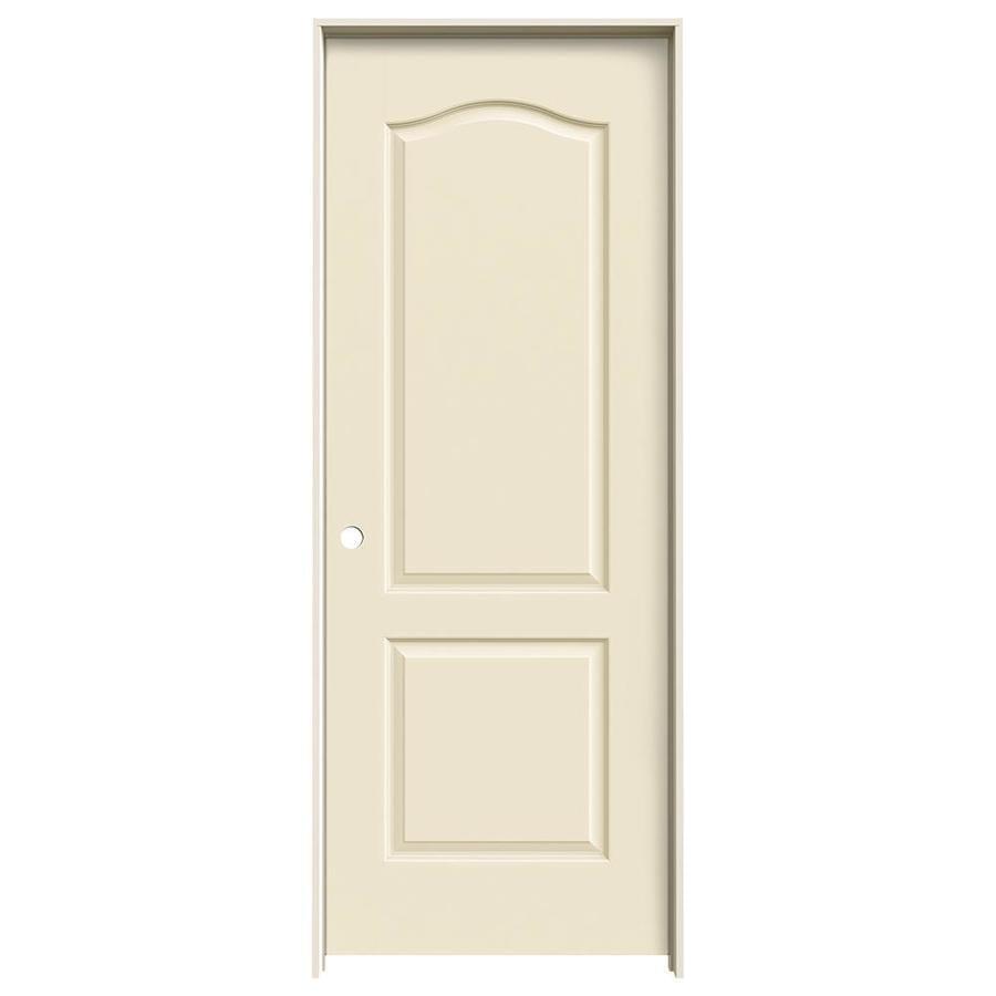 JELD-WEN Cream-N-Sugar Prehung Solid Core 2-Panel Arch Top Interior Door (Common: 32-in x 80-in; Actual: 33.562-in x 81.688-in)